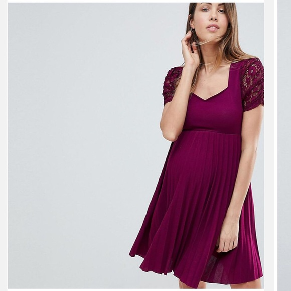 3674a2a1c1c82 ASOS Maternity Dresses | Pleat And Lace Skater Dress In Wine | Poshmark